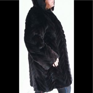 Jackets & Blazers - Black Russian Mink Coat Hood sz L XL pre owned